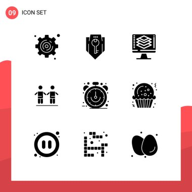 Stock Vector Icon Pack of 9 Line Signs and Symbols for ecommerce, group, programming, friendship, best Editable Vector Design Elements icon
