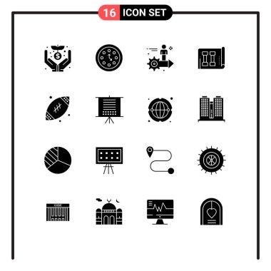 Set of 16 Vector Solid Glyphs on Grid for sports, fitness, timer, equipment, user Editable Vector Design Elements