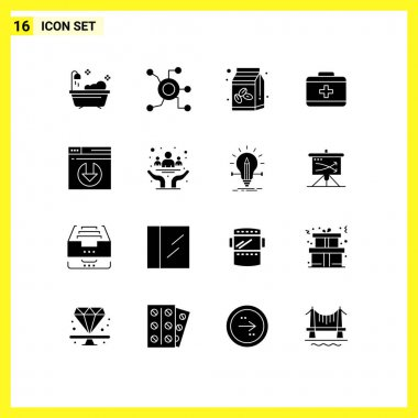Stock Vector Icon Pack of 16 Line Signs and Symbols for server download, web, coffee, care, bag Editable Vector Design Elements icon