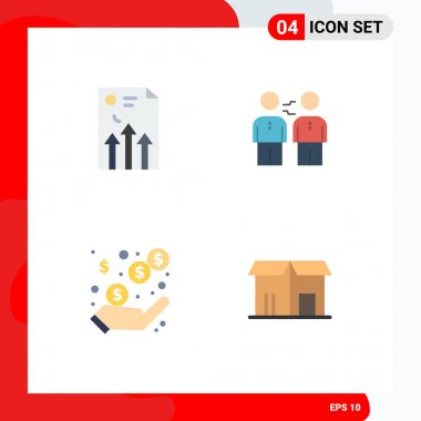 Pack of 4 Modern Flat Icons Signs and Symbols for Web Print Media such as arrow, deal, graph, agreement, partners Editable Vector Design Elements icon