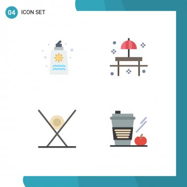 Pack of 4 creative Flat Icons of sun cream, table, romance, park, fast food Editable Vector Design Elements icon