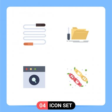 Pack of 4 Modern Flat Icons Signs and Symbols for Web Print Media such as fitness, app, sports, repair, search Editable Vector Design Elements icon
