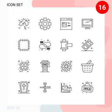 16 User Interface Outline Pack of modern Signs and Symbols of imac, monitor, science, computer, develop Editable Vector Design Elements