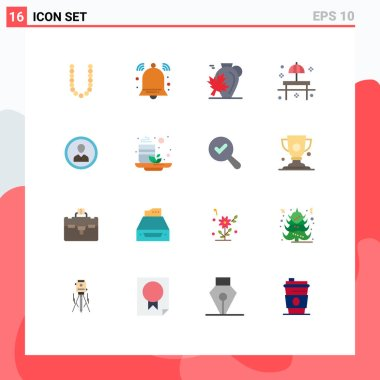 Universal Icon Symbols Group of 16 Modern Flat Colors of table, restaurant, pot, park, maple Editable Pack of Creative Vector Design Elements icon