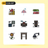 Pictogram Set of 9 Simple Filledline Flat Colors of hospital, six, weather, game, dice Editable Vector Design Elements