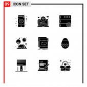 Fotografie 9 Solid Glyph-Konzept für Websites Mobile und Apps Schleife, Audio, Optionen, Sonne, Outdoor Editierbare Vektordesign-Elemente