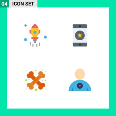 User Interface Pack of 4 Basic Flat Icons of astronomy, bone, fly, favorite, crossed Editable Vector Design Elements icon