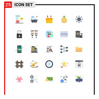 Stock Vector Icon Pack of 25 Line Signs and Symbols for padlock, wheel, box, ship, pineapple Editable Vector Design Elements icon