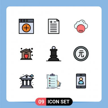 Universal Icon Symbols Group of 9 Modern Filledline Flat Colors of business, chess, co, bishop, security Editable Vector Design Elements