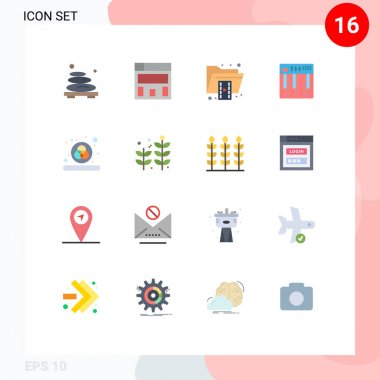 Set of 16 Modern UI Icons Symbols Signs for color, midi, file, keyboard, controller Editable Pack of Creative Vector Design Elements icon
