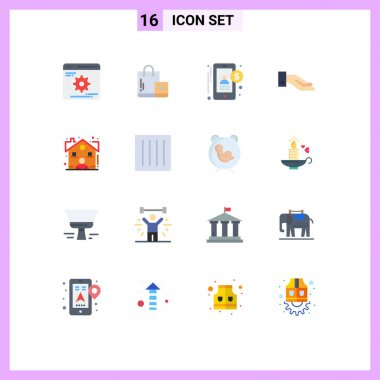 Stock Vector Icon Pack of 16 Line Signs and Symbols for cogwheels, accounting, optimization, market, user Editable Pack of Creative Vector Design Elements icon