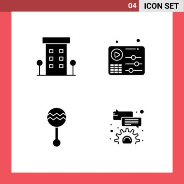 Stock Vector Icon Pack of Line Signs and Symbols for buildings, audio, shops, equalizer, maracas Editable Vector Design Elements icon