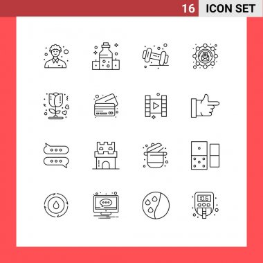 Stock Vector Icon Pack of 16 Line Signs and Symbols for rose, message, diet, marketing, affiliate Editable Vector Design Elements icon