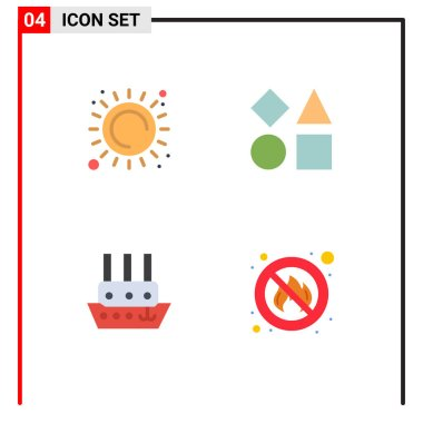 Set of 4 Commercial Flat Icons pack for summer, steamboat, heat, shapes, vessel Editable Vector Design Elements icon
