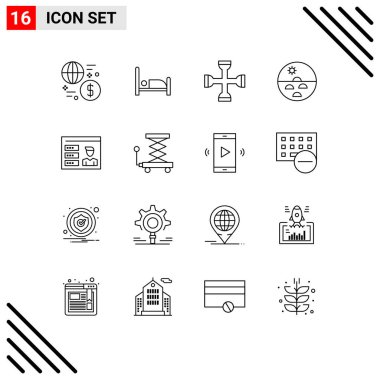 Stock Vector Icon Pack of 16 Line Signs and Symbols for skin, skin, cross, dry skin, wrench Editable Vector Design Elements icon