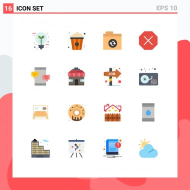 Stock Vector Icon Pack of 16 Line Signs and Symbols for media, chat, food, denied, ban Editable Pack of Creative Vector Design Elements icon