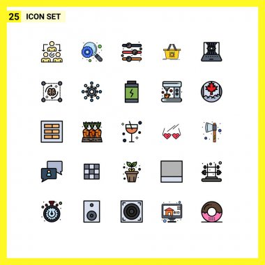Stock Vector Icon Pack of 25 Line Signs and Symbols for engineering, applied science, off, shopping, add to cart Editable Vector Design Elements icon