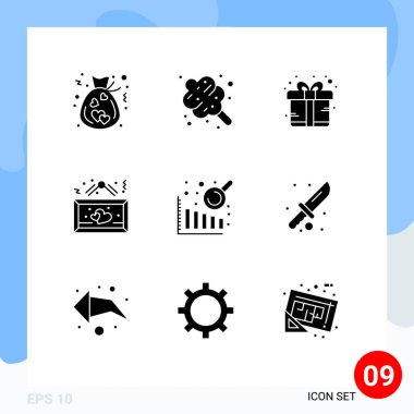 Stock Vector Icon Pack of 9 Line Signs and Symbols for business intelligence, love, box, heart, board Editable Vector Design Elements icon