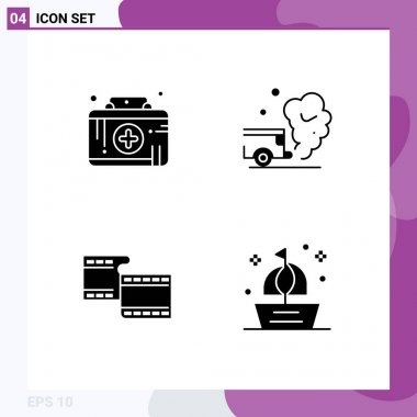 Stock Vector Icon Pack of 4 Line Signs and Symbols for first aid kit, filam, medical emergency, gas, video Editable Vector Design Elements icon