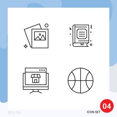 Set of 4 Commercial Filledline Flat Colors pack for gallery, marketing, book, favorite, online Editable Vector Design Elements