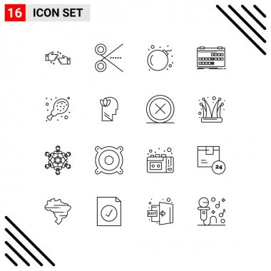 Stock Vector Icon Pack of 16 Line Signs and Symbols for chicken, release, ui, event, calendar Editable Vector Design Elements icon