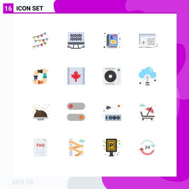 Universal Icon Symbols Group of 16 Modern Flat Colors of settings, object, web, file, learning Editable Pack of Creative Vector Design Elements icon