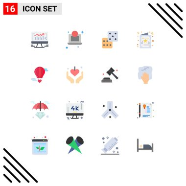 Universal Icon Symbols Group of 16 Modern Flat Colors of love, flying baloon, dice, m flying heart, greeting Editable Pack of Creative Vector Design Elements icon