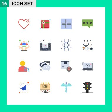 Set of 16 Modern UI Icons Symbols Signs for health, community, small, cancer, message Editable Pack of Creative Vector Design Elements icon