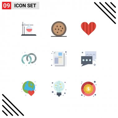 Stock Vector Icon Pack of 9 Line Signs and Symbols for invoice, bill, love, jewelry, earrings Editable Vector Design Elements icon
