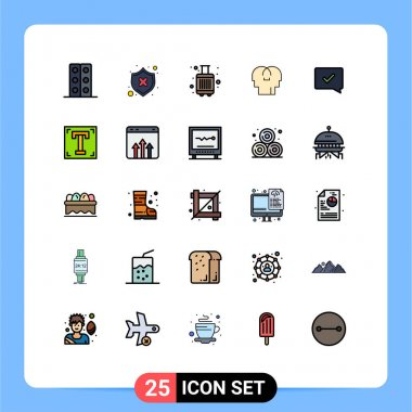 25 Creative Icons Modern Signs and Symbols of approve, mind, shield, feelings, tourist Editable Vector Design Elements