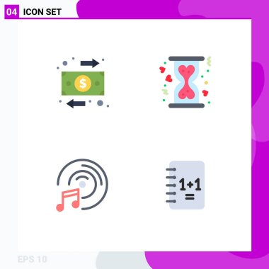 User Interface Pack of 4 Basic Flat Icons of flow, music, money, heart, education Editable Vector Design Elements