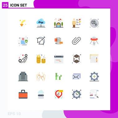 25 Universal Flat Colors Set for Web and Mobile Applications co, job skills, data, skills, lover Editable Vector Design Elements