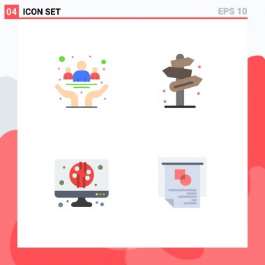 Pack of 4 creative Flat Icons of awareness, street, day, direction, computer Editable Vector Design Elements icon