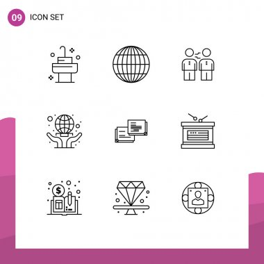 Stock Vector Icon Pack of 9 Line Signs and Symbols for chat, hands, business, globe, partners Editable Vector Design Elements icon