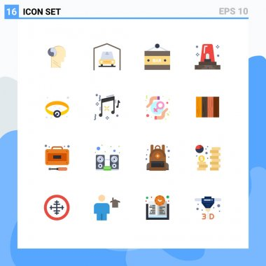 Universal Icon Symbols Group of 16 Modern Flat Colors of jewelry, siren, bar sign, police, alert Editable Pack of Creative Vector Design Elements icon