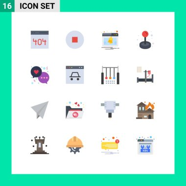 Set of 16 Modern UI Icons Symbols Signs for love, day, notice, chat, game Editable Pack of Creative Vector Design Elements icon