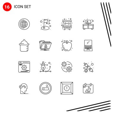 16 Universal Outline Signs Symbols of encryption, bottle, education, baby, stand Editable Vector Design Elements