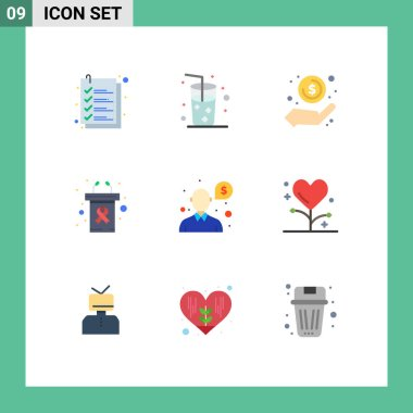 Stock Vector Icon Pack of 9 Line Signs and Symbols for money, cancer day, hand, rostrum, podium Editable Vector Design Elements