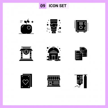 Stock Vector Icon Pack of 9 Line Signs and Symbols for tent, chinese, box, china, door Editable Vector Design Elements icon