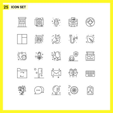 Stock Vector Icon Pack of 25 Line Signs and Symbols for data, laptop, kit, presentation, record Editable Vector Design Elements icon