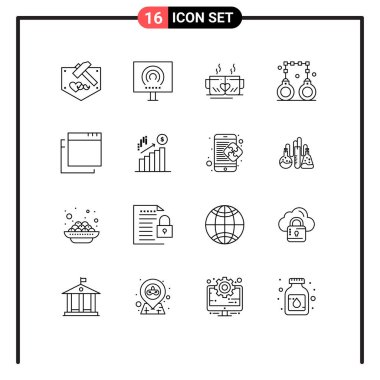 Stock Vector Icon Pack of 16 Line Signs and Symbols for police, lawyer, stream, handcuffs, heart Editable Vector Design Elements icon