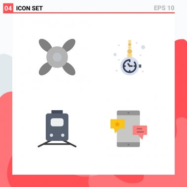 Stock Vector Icon Pack of 4 Line Signs and Symbols for cooler, train, accessory, watch accessorize, travel Editable Vector Design Elements icon