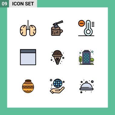 Stock Vector Icon Pack of 9 Line Signs and Symbols for building, ice cream, wood, cone, grid Editable Vector Design Elements icon