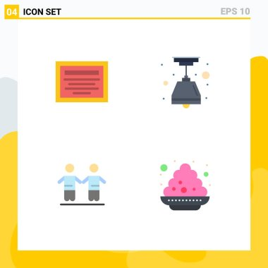 Set of 4 Commercial Flat Icons pack for education, group, electric, best, plate Editable Vector Design Elements icon
