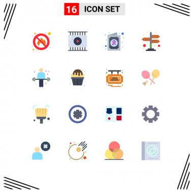 Universal Icon Symbols Group of 16 Modern Flat Colors of weightlifting, exercise, health, dumbbell, navigation Editable Pack of Creative Vector Design Elements icon