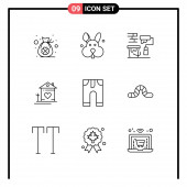 Pack of 9 creative Outlines of clothes, hut, roller, couple, house Editable Vector Design Elements