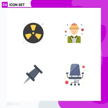 Pack of 4 creative Flat Icons of burn, manager, fireman, engineer, pin Editable Vector Design Elements icon