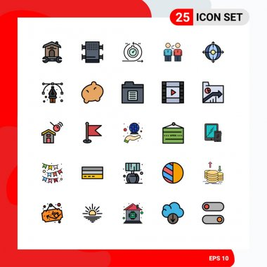 Stock Vector Icon Pack of 25 Line Signs and Symbols for deal, business, agile, agreement, iteration Editable Vector Design Elements icon