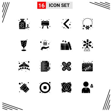 Modern Set of 16 Solid Glyphs and symbols such as protection, juice, left, drink, india Editable Vector Design Elements