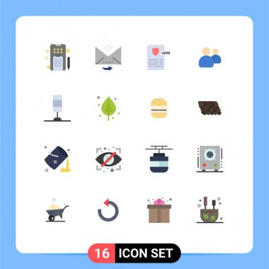 Set of 16 Modern UI Icons Symbols Signs for lamp, team, controller, users, friends Editable Pack of Creative Vector Design Elements icon